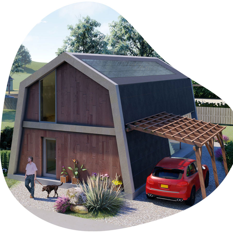 An ecokit home visualisation illustraing modern/looking barn house that is sustainable and energy efficient
