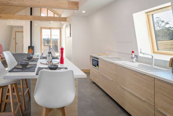passive house kitchen interior with wooden aspects